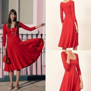 REFORMATION LOU red fit flare dress xs